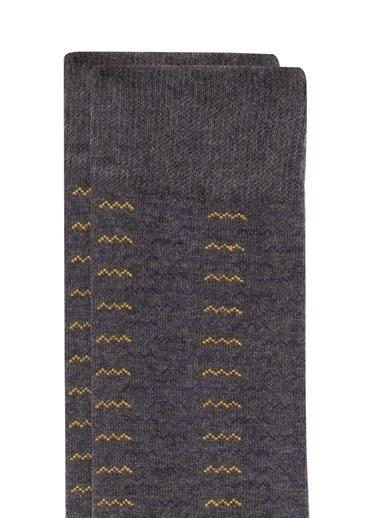 Mavi Desenli  Soket Çorap Gri
